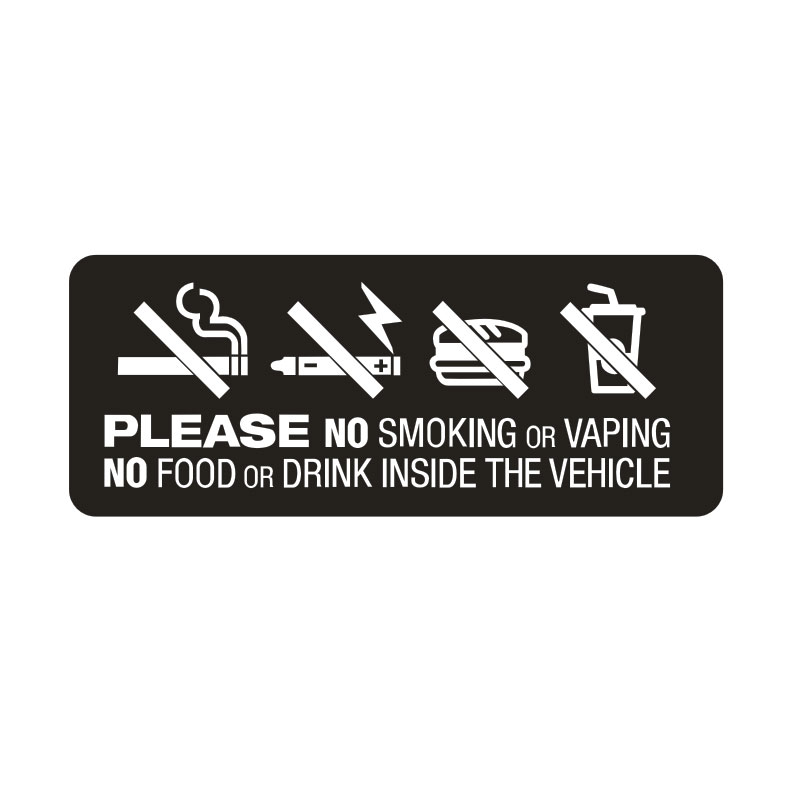10x4cm No Smoking Vaping Food Drink In Vehicle Notice Car,van,taxi,window Stickers Car Stickers Da4-0053 Year-End Bargain Sale
