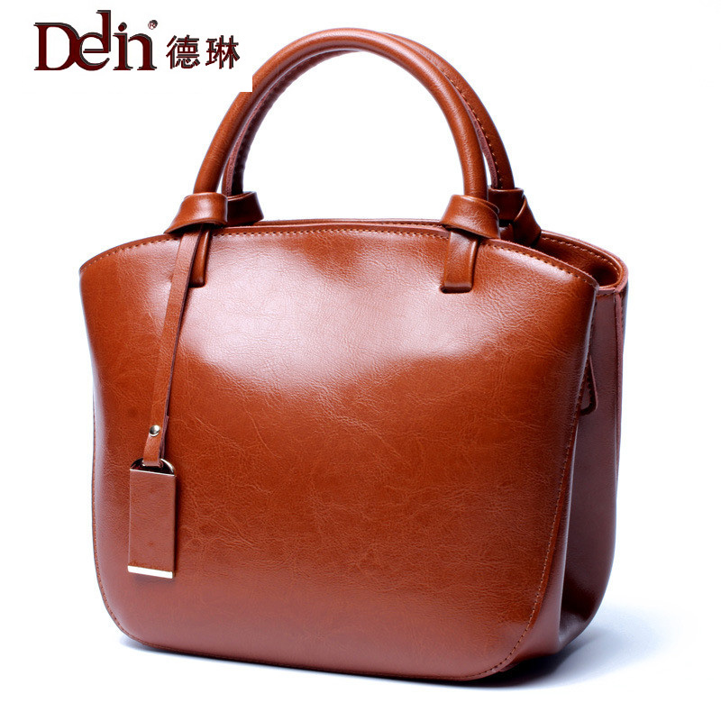 DELIN 2017 summer new leather bag leather handbag female leather bag retro all-match portable tide Satchel all summer long