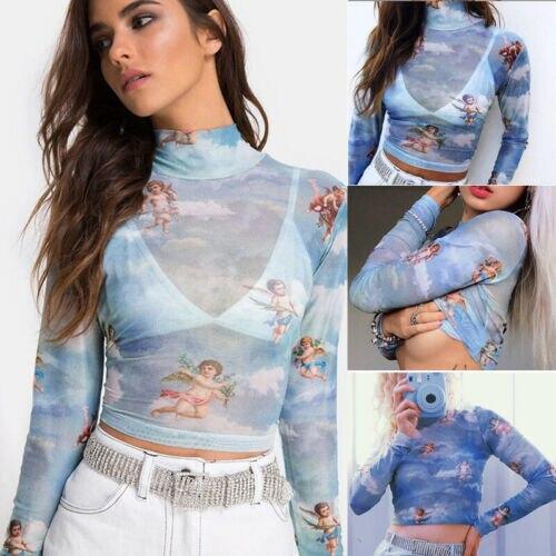 Hirigin New Fashion Women przezroczysta siateczka kabaretka koszulka krótki top śliczny anioł wydrukowany kobieta lato topy z siateczki 3