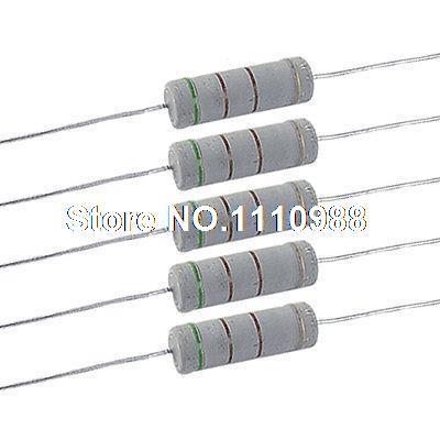 x5PCS 220K Ohm Metal Oxide Film Resistors 5W 5 Watts