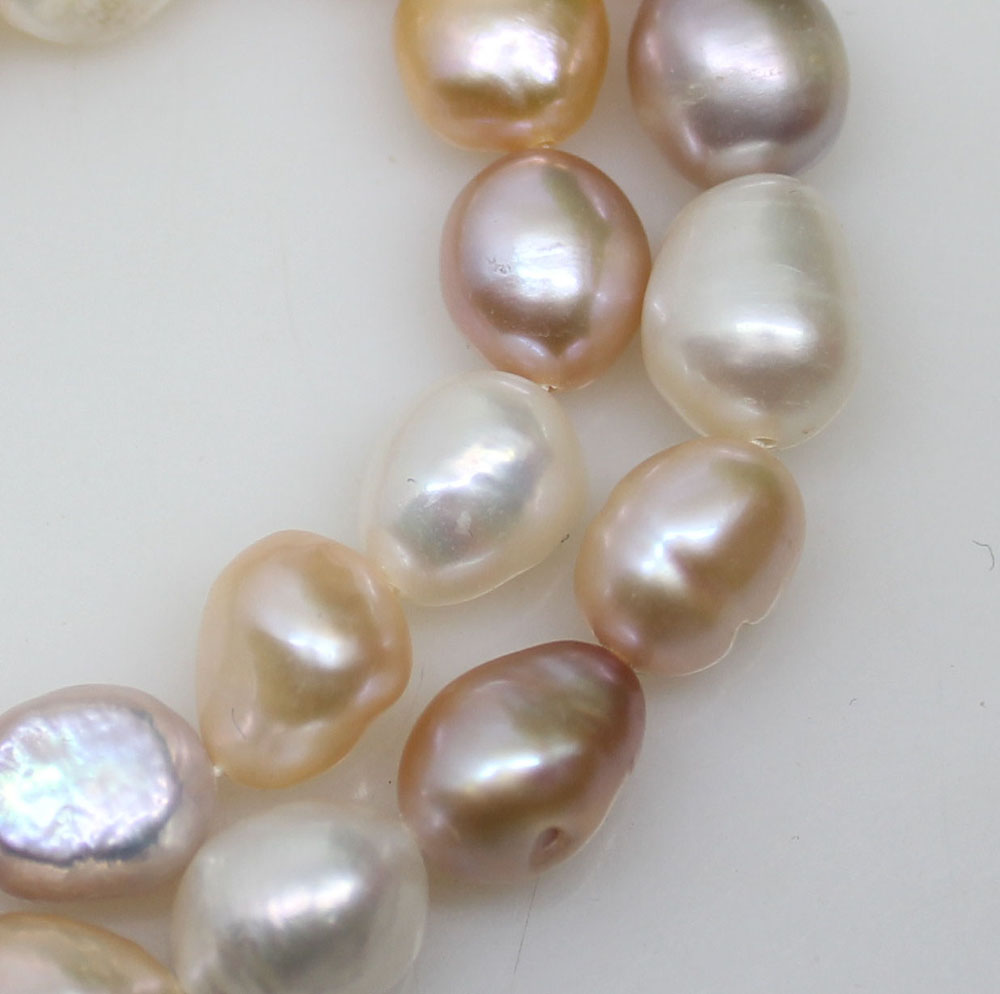 Купить с кэшбэком White Pink Lilac Baroque Loose Pearl Strand Multi-Color 8mmX11mm