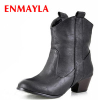 ENMAYER Women Boots New Winter Boots Warm Shoes Winter Ankle Boots Size 34 43