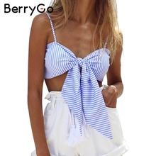 BerryGo Strappy padded bustier crop tops women 2016 Party casual tube cami Bow striped shirt camisole tank top femme