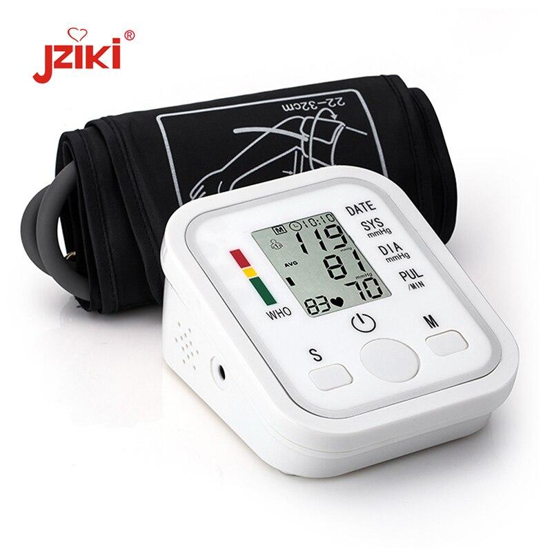 JZIKI Numérique Bras Blood Pressure Pulse Moniteurs tonomètre Portable santé bp Moniteur de Tension Artérielle compteur tensiomètre
