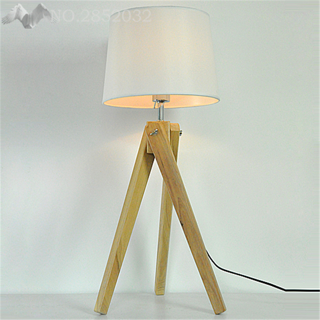 2017 New Nordic Modern Wooden Tripod Table Lamps Lights Wood Color
