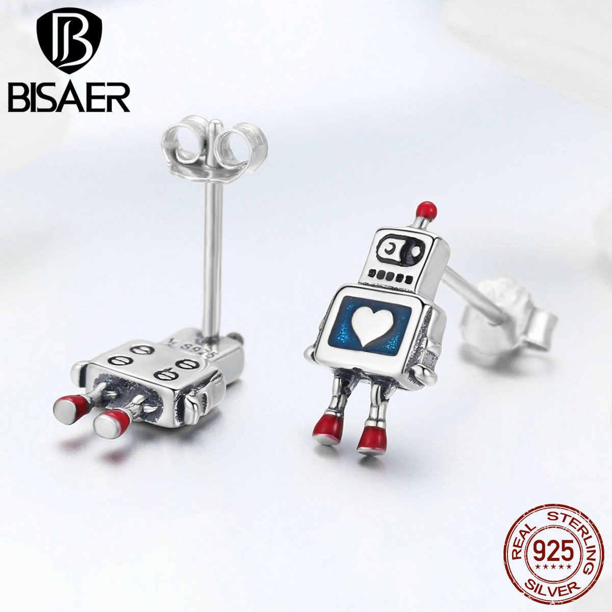 BISAER Bán Bạc 925 Robot Cơ Bông tai Nữ Robot Đồ Chơi Bông Tai Bông Thời Trang Trang Sức ECE477