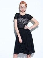 1950s Hot Vintage Dresses Women Summer Elegant Short Sleeve Black Patchwork Dresses 2017 Solid Knee Length