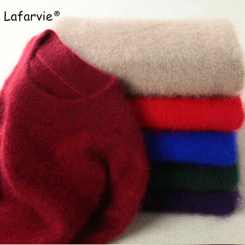 Lafarvie Autumn Winter O-neck Knitted Mink Cashmere Sweater Women Tops Long Sleeve Warm Pullover Female Solid Color Basic Sweter