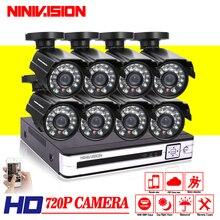 1 ТБ HDD с 8 шт. AHD 720 P 1.0MP камеры безопасности системы видеонаблюдения 8 канала AHD-NH dvr комплект 8ch HDMI 1080 P NVR DVR система ночного видения