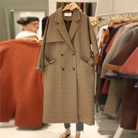 Autumn British Retro Style Vintage Jackets Loose Long Blazers With Waist Belt Lattice Suit Jacket Double Breasted Thin