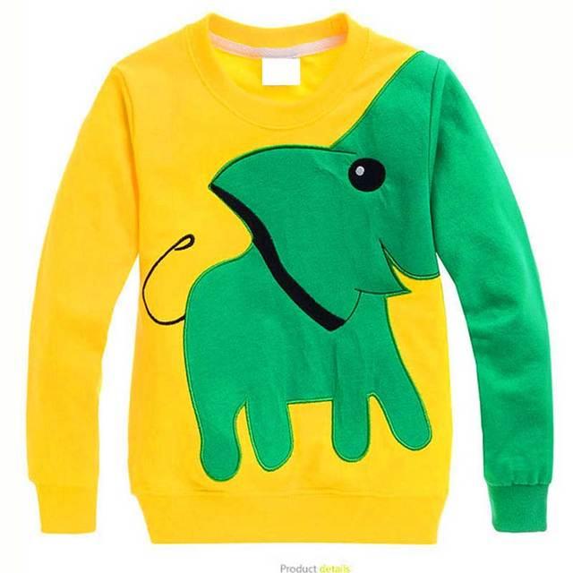 Nueva llegada del otoño niño niños casual sweater Costura y diseño del color del golpe Bordado elefante y patrón de la letra de 4 Colores