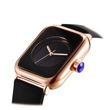 Для женщин REBIRTH Классическая квадратная форма рисунок кожаный ремешок наручные часы кварцевые женские часы Relogio Feminino Montre Femme hv5n
