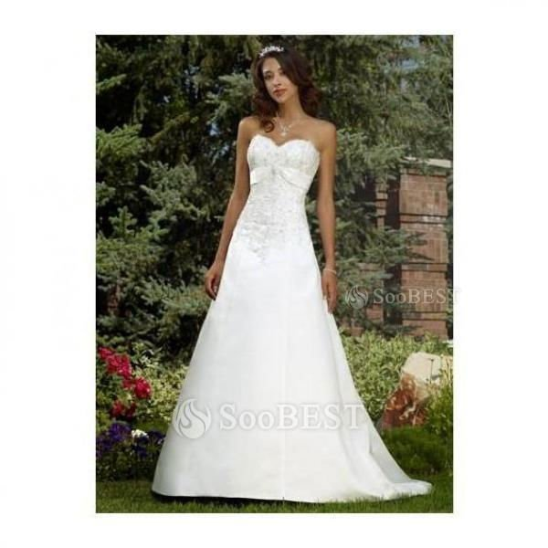 Pretty A-line Princess Sweetheart Beaded Bodice Flowing Skirt Satin Wedding Dress #288833