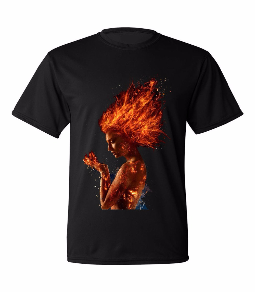 Cool T Shirts Designs Short The Movie 2018 X Men Dark Phoenix Jean Gray Mens T-Shirt O-Neck Short-Sleeve Mens T Shirts