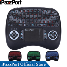 iPazzPort 3 Colors Backlight Russian Mini Wireless Keyboard Mouse with TouchPad for Android TV Box/Raspberry Pi 3/Mini PC
