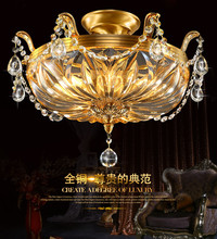 Fashionable  European style all copper led ceiling dome light crystal lamp French round bedroom lamp.