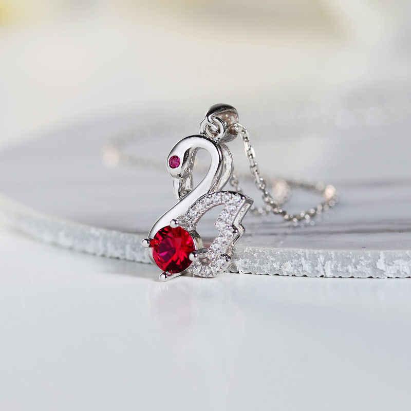 Ожерелье DAIMI с подвеской в виде лебедя Настоящее серебро 925 проба, ожерелье из кубического циркония для женщин