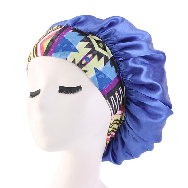 Fashion Women Wide Band Satin Bonnet Cap Shower Cap Comfortable Ladies Turban