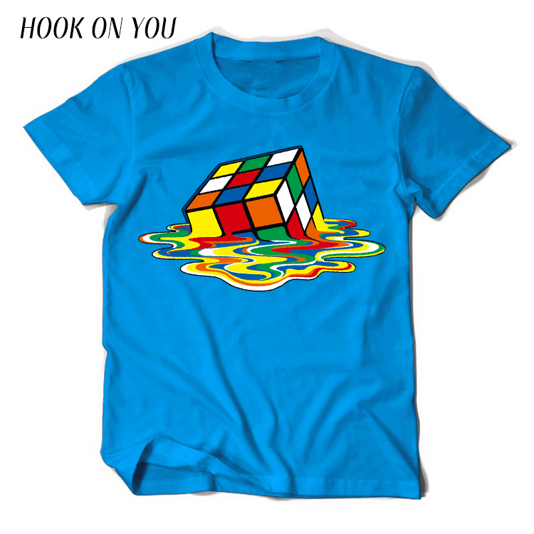 Summer New Men T-Shirts The Big Bang Theory Printed Stylish Design Rubik Cube T Shirts Casual 100% Cotton Short Sleeve Tees