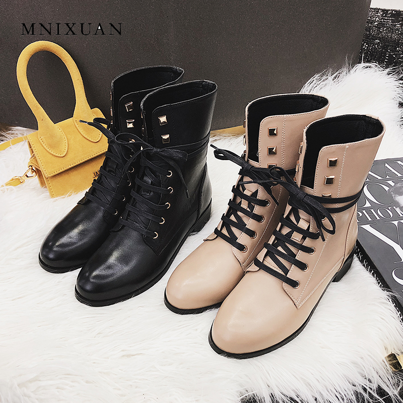 MNIXUAN Handmade winter women shoes ankle martin boots 2018 new genuine leather medium heels lace up motorcycle boots big size 9 джемпер morgan morgan mo012ewvac77