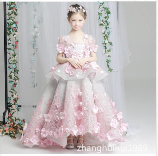 Luxury Custom Flower Girl Dress Bridesmaid Princess Birthday Gown Sweep Train marfoli girl princess dress birthday
