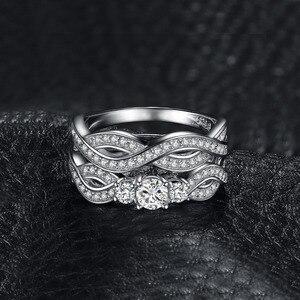 Image 3 - JPalace Infinity CZ zestaw pierścionków zaręczynowych 925 srebro pierścionki dla kobiet obrączki zespoły zestawy ślubne srebro 925 biżuteria