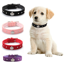 Rhinestones Crown Dog Collar Soft Velvet Material Adjustable necklacePet Dog Cat Collars with 4colors XS S