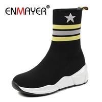 ENMAYER Women Ankle boots Round shoes Winter Women shoes Fashion boots Size 33 40 Stretch Short boots Star Platform shoes CR1167