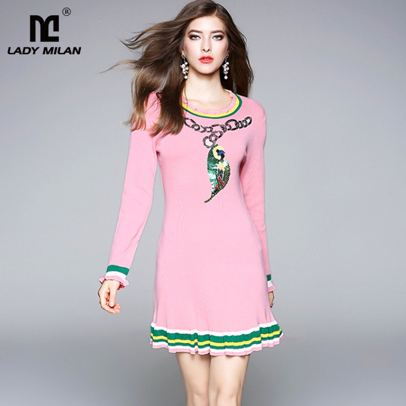 New Arrival 2018 Womens O Neck Long Sleeves Sequins Beaded Striped Fashion Knitted Short Dresses
