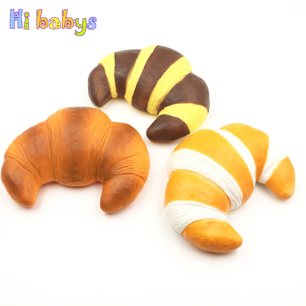 Giant Squishy Bread Jumbo Croissant Squeeze Toy Smooshy Mushy Squish Food Slime Antistress Squishes Sensory Toys Funny Gift Fancy Colours Squeeze Toys