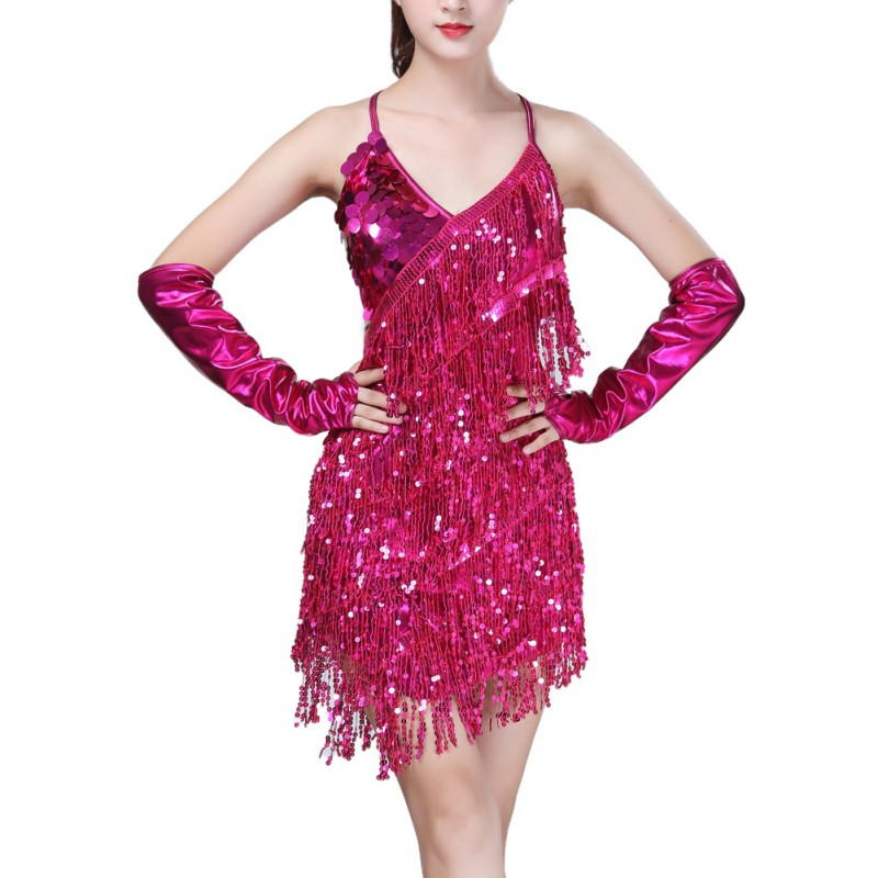 Latin Dance Dress Women Ballroom Tango Cha Cha Rumba Samba Salsa Dance Dresses Ladies Girls Sequin Fringe Dress For Dancing