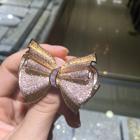 2015 new zircon Brooch bow jewelry clothing line styles, big European and American design