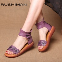 RUSHIMAN 2018 hot sell national wind summer muffins sandals and sandals are high in purple sandals size 35 40