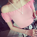 Free Shipping Women Fashion Summer Short Sleeve Slim Casual Cute Slash Neck Sweet Striped Pink Black Sweater Crop Tops