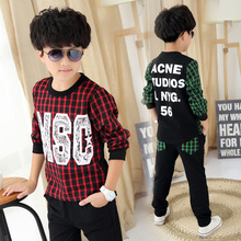 Baby Boy Tracksuit Set Streetwear Patchwork Sweater 2Pcs Set Kids Clothing Boys 2-13years Boys Plaid Blouse And Pants
