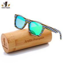 [AP] Brand New Nature Wooden Sunglasses Blue Stripe Frame Sunglasses For Men Polariaed Women Fashion Eyewear Summer Shades