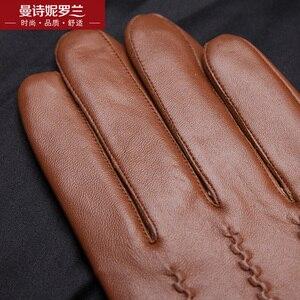 Image 4 - Guanti in pelle di capra uomini touch screen spessore guanti tenere in caldo guanti di camoscio inverno signori telefingers guanti MLZ104
