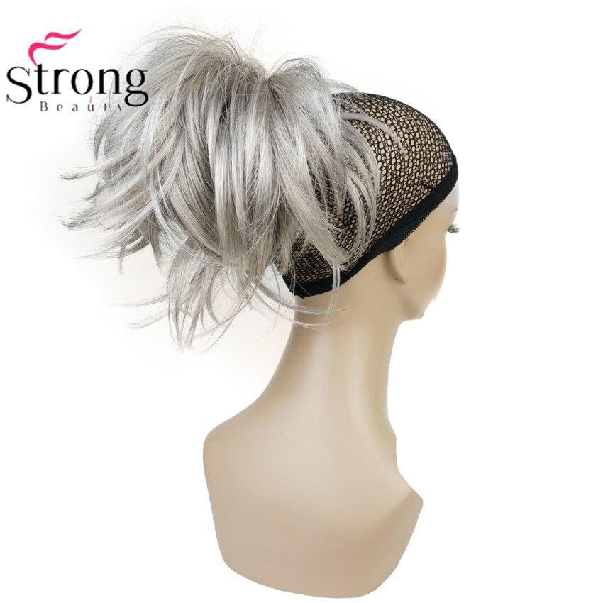 Argent 10-12 pouce Court Naturel Vague Ponytail Hair Extension Avec Griffe Clip Dans Postiche COULEUR CHOIX