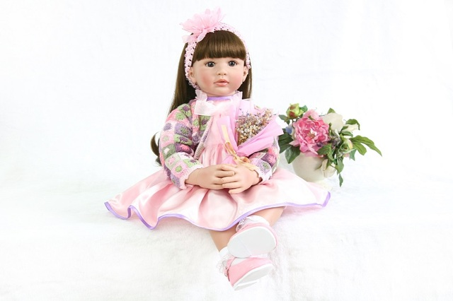 60cm Silicone Vinyl Reborn Baby Doll Toys For Girl Like Real Princess Toddler Babies Alive Bebe