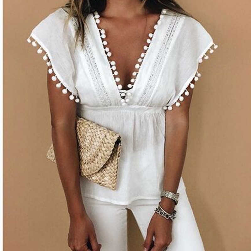 2019 Women lace stitching Blouse Summer Casual Loose Short Sleeve Cotton Shirts Solid V-neck Tops Female Plus Size