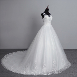Image 4 - Foto real nova moda vestido de noiva 2020 grande trem o neck plus size vestidos de casamento tule voltar sexy vestidos de noiva doce flor