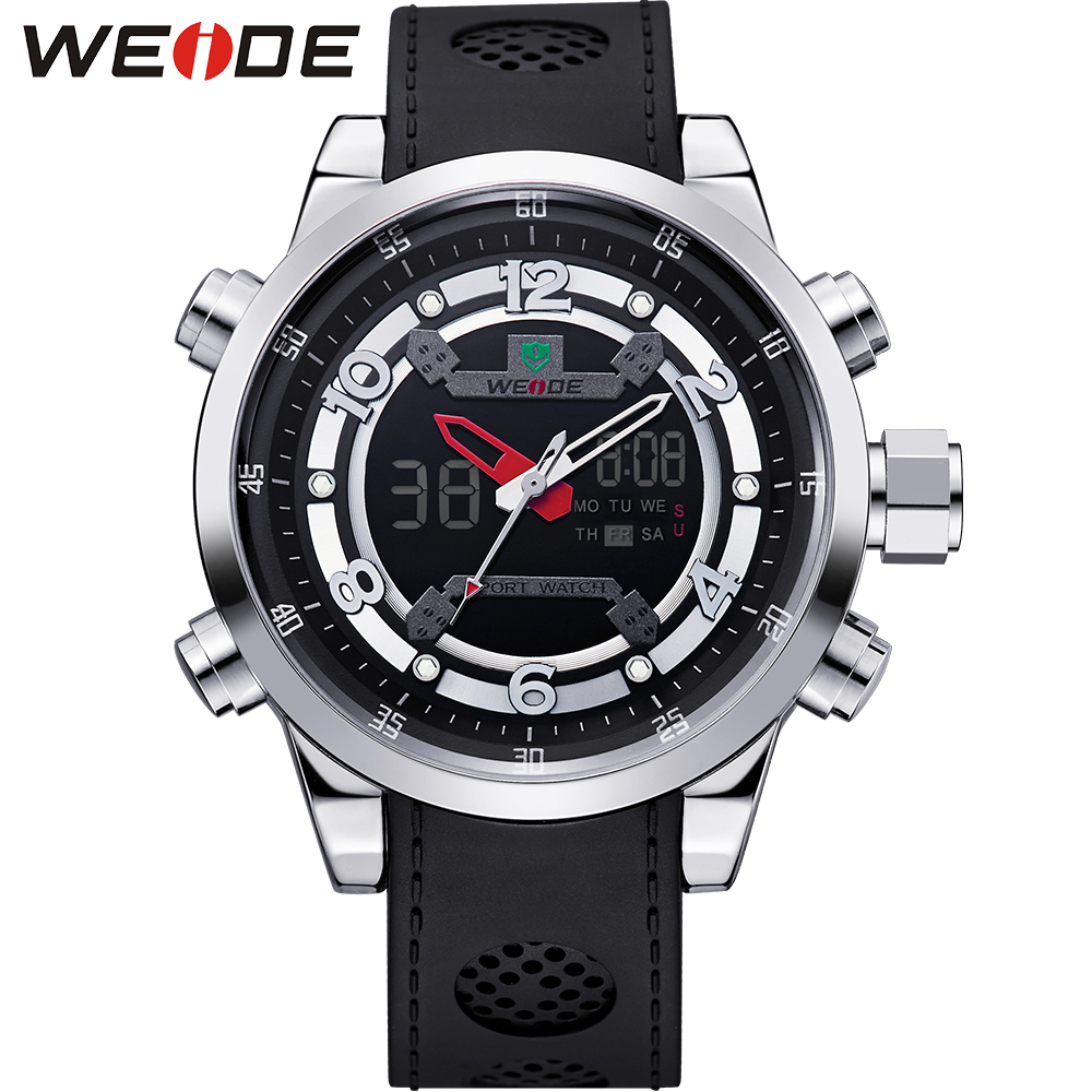 ФОТО WEIDE Top Luxury Brand Watch Men Quartz Analog Digital Alarm Date Stopwatch Display 3atm Waterproof PU Wrist Mens Logo Watches