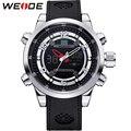 WEIDE Top Luxury Brand Watch Men Quartz Analog Digital Alarm Date Stopwatch Display 3atm Waterproof PU Wrist Mens Logo Watches