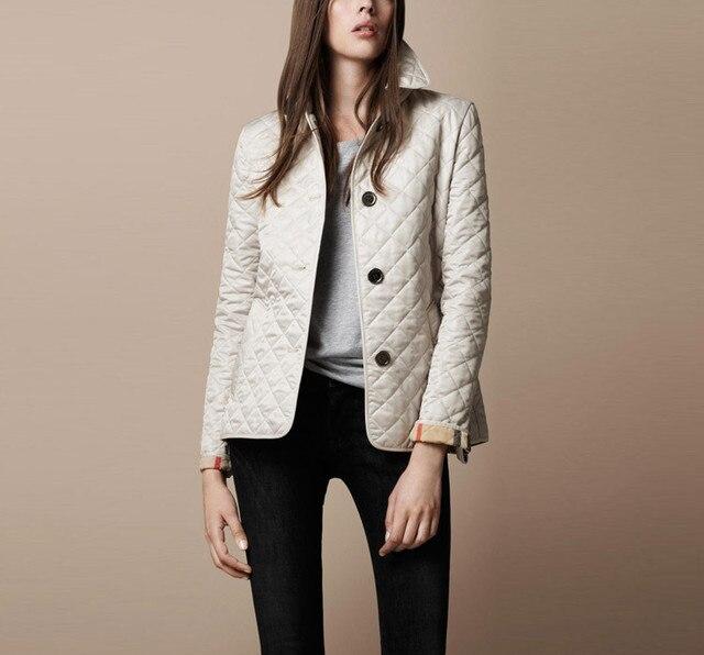 MIEC Женщин Куртки Весна Осень Хлопок Smil Пальто Проложенный Повседневная Пальто Куртки Мода Верхняя Одежда Плед Квилтинга Стеганый Парки