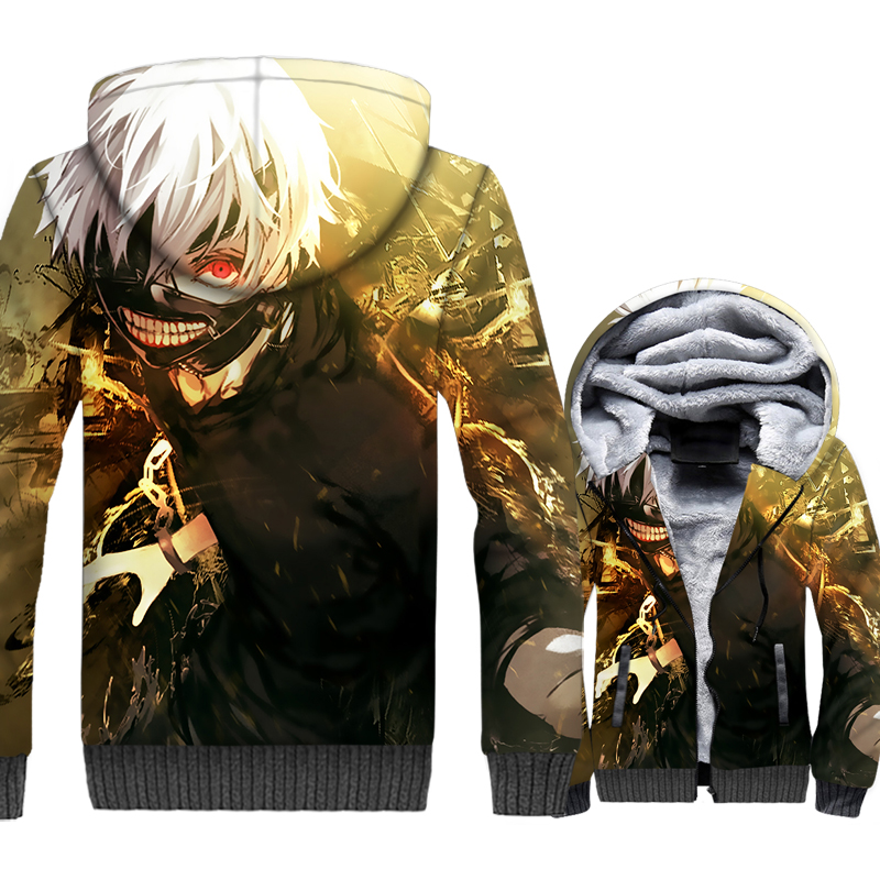 Japan Anime Tokyo Ghoul Jacket Men Ken Kaneki Hooded Hoodie Sweatshirt Winter Thick Fleece Warm 3D Print Coat Hip Hop Streetwear