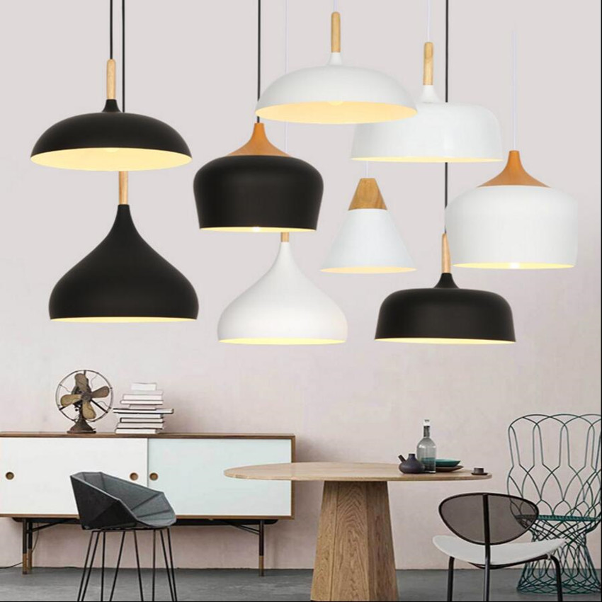 Modern pendant lights LED lamp Wood and aluminum lampshade black and white indoor lighting bar coffee dining room  light fixture modern led lampada scopas white black pendant lights globe lamp fixture home indoor lighting dining room restaurant foyer club
