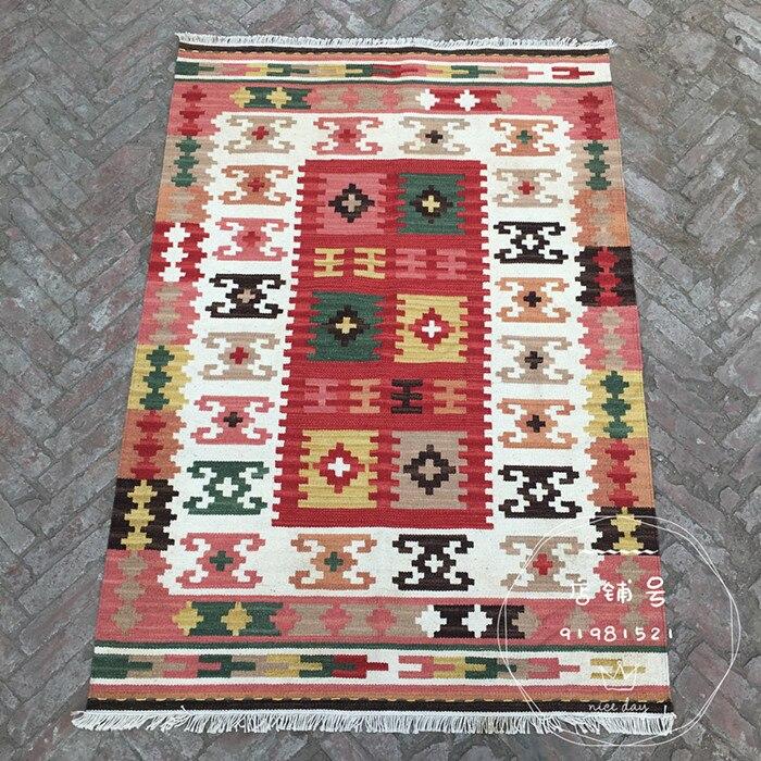 Tapis kilim tissé à la main artisanat de fabrication de laine à la main nouvelle liste tapis à tricoter en laine géométrique traditionnelle