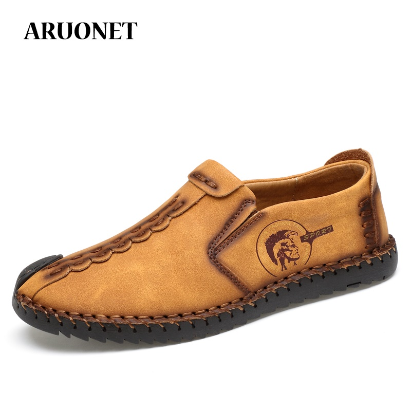 ARUONET Comfortable Mens Casual Loafers Shoes Vintage Style Breathable Light Fabric Flat Moccasin Male Shoes Zapatos Para Hombre