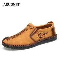 Aruonet confortável dos homens mocassins casuais sapatos estilo vintage respirável tecido leve plana mocassins masculinos sapatos zapatos para hombre