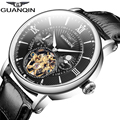 2016 Men Watches Luxury Top Brand GUANQIN Sport Watch With Moon Phase Gold Male Clock Tourbillon Automatic Leather Wristwatch